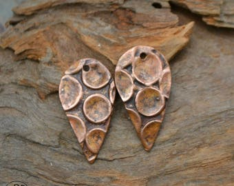 Bubble Textured Drop Copper Earring Charms (1 pair)