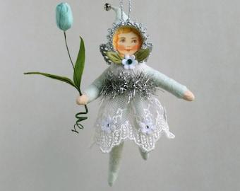 Spun Cotton Ornament, Cotton batting doll, Cotton fairy, Plumpuppets
