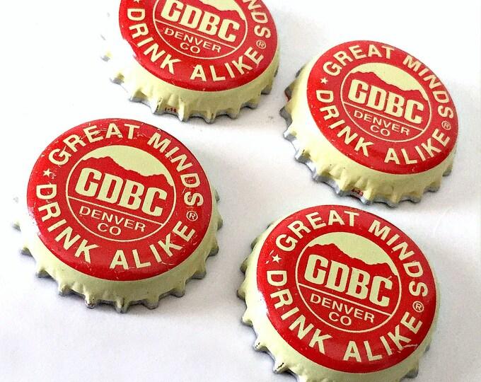 Craft Beer Magnet Set, Great Divide Brewing Co. Cap Magnets, Beer Bottle Top Magnets, Set of Four, File Cabinet Magnet, Refrigerator Magnets