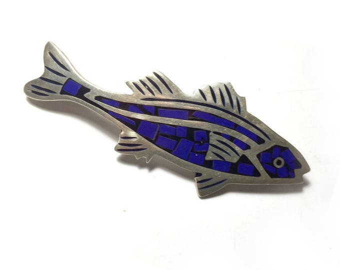 Silver and Mosaic Fish Pin, Vintage Mexican Fish Pin, Sterling Silver 925 Fish Pin, Cobalt Blue Mosaic Fish Pin, Mexican Silver Fish Pin