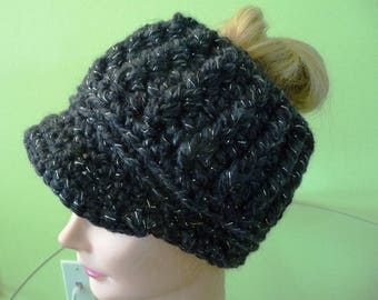 Messy Bun Ponytail Hat with Visor