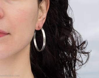 50mm, Wavy Texture, Wide Sterling Silver Hoops