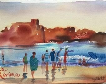 """La Riviera, sur la plage, original watercolor 7"""" x 10"""""""
