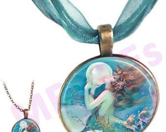 MERZIEs dome MERMAID Fantasy sea ocean glass brass pendant Voile Necklace - SHIPs from USA