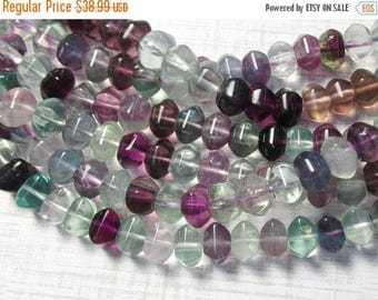 20% OFF SALE AAA Fluorite Rondelle Beads 8mm ,Six Sided Natural Blue Green Purple Gemstone  16 Inches