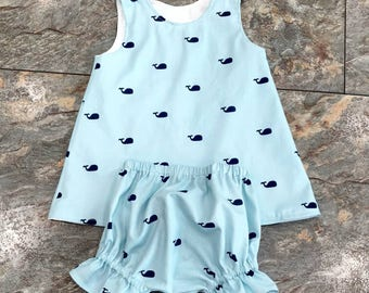 Whale Dress - Nautical Dress - Whales - Nautical Themed Birthday - Girls Birthday Outfit - Dress - Bloomers - Groovy Gurlz