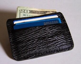 Black Sharkskin Leather Wallet/Credit Card Case - Use for Credit Cards, Drivers License etc. - Genuine Black Sharkskin