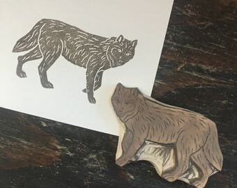 Wolf Rubber Stamp Hand Carved