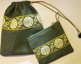 Pair of Matched Green LEATHER Bags,Renaissance/Celtic Style