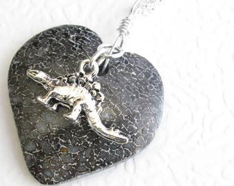 Dinosaur Bone Heart Necklace: Gembone Fossil Jewelry, Paleontology Lover Gift