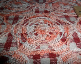 Vintage Hand Crocheted Coral/White Blend Doily