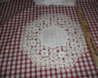 "Antique Hand Crocheted and Linen Doily 11"" diameter"