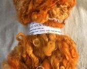 Orange Handspun English Leicester Curls  Chunky Yarn Mini Hank 25 Metres