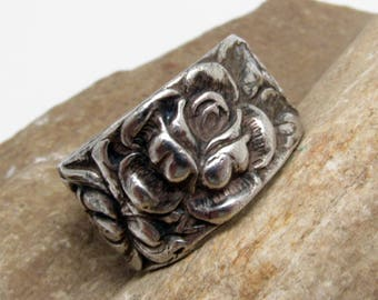 Wide Sterling Band Floral Ring Foree Vintage Jewelry R8022