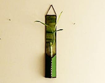 Bamboo Stalk, Stained Glass Panel, Emerald Green and Pink, Window Suncatcher, Bud Vase