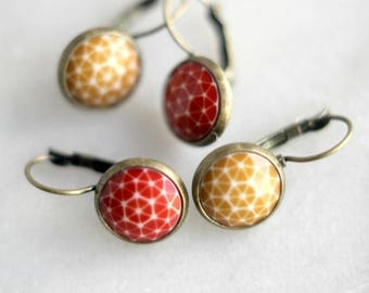 50%OFF Geometric Earrings, Autumn Red, Mustard, Vintage Cabochon Dangles, Antiqued Brass