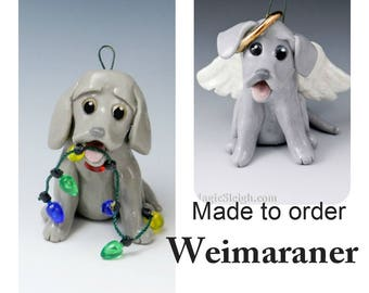 Weimaraner Made to Order Christmas Ornament Figurine in Porcelain