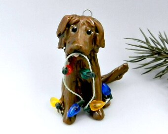 Flat Coated Retriever Liver Christmas Ornament Figurine Lights Porcelain