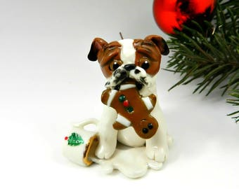 Bulldog Red White Christmas Ornament Figurine Santa's Cookie Porcelain