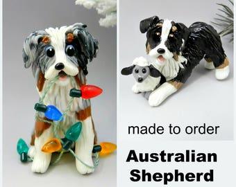 Australian Shepherd Made to Order Christmas Ornament Figurine in Porcelain