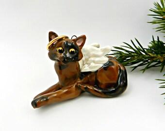 Tortoiseshell Cat Tortie Angel Porcelain Christmas Ornament Figurine Clay