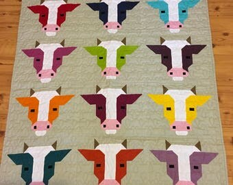 Cow quilt | Etsy : cow quilt pattern - Adamdwight.com