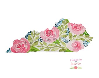 Kentucky floral state outline Watercolor Art print