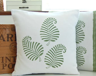 one fern green block printed decorative pillow cover, hand printed cushion cover 16 x 16 inch