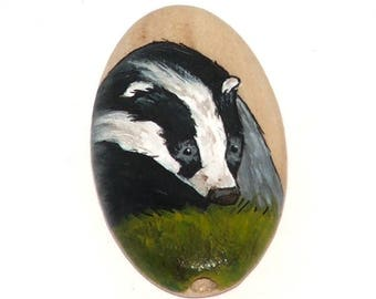 Wooden bead - badger, hand painted, 35x20mm