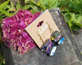 Stacked Rainbow quartz earrings