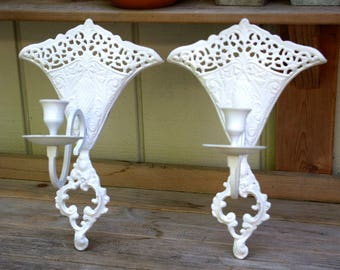Vintage Pair of Ornate White Cast Iron  Wall Candle Sconces