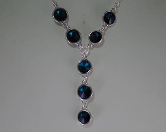 Swarovski Crystal Jewelry - Y Necklace - Swarovski Rivolis - Shown in Emerald - Available in Several Colors