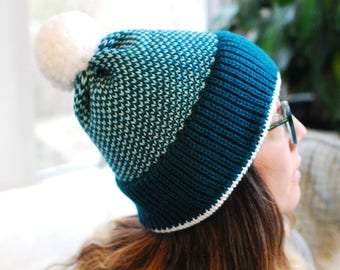 Knit Beanie // Pixel Turquoise Pattern // Winter Accessory // Soft and Squishy