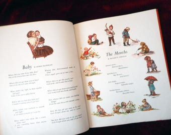 Vintage Fairy Tale Book My Brimful Book Mother Goose Poems Animal Stories with Color Illustrations Childrens Hardcover Book Tasha Tudor