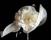 """Women's Kentucky Derby Hat, Downton Abby Style, Tea Party Hat, Sinamay Straw Spring Fashion Hat in Tonal Ivory - """"Highclere Garden Wedding"""""""