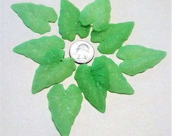 FF-135 Acrylic Large Frosted Green Leaves