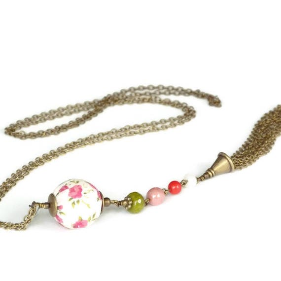 Liberty necklace, Necklace with tassel, Liberty jewelry, Summer necklace, Romantic necklace, Romantic jewelry, Boho necklace, Pink and green