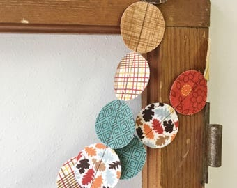 Fabric Garland Fall Autumn Thanksgiving Decoration hand cut circles 6 feet