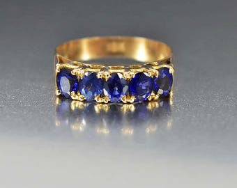 Victorian 18K Gold Five Stone Sapphire Ring, Yellow Gold Antique Ring, Natural Blue Wedding Band Anniversary Ring September Birthstone Ring