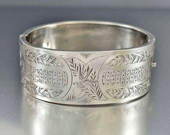Antique Silver Victorian Bracelet | Swallow Engraved Bracelet | Wide Sterling English Bracelet | Bird Motif Bracelet | Hinged Bracelet Cuff