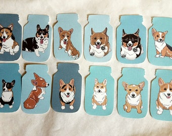 Mason Jar Corgi Collection - Eco-friendly Set of 12 - Scrapbooking Embellishment