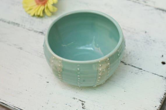 pale blue sea urchin bowl, porcelain