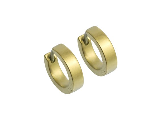 Yellow Flat Hoop Cuff Titanium Earrings, 100% Hypoallergenic, Sensitive ear