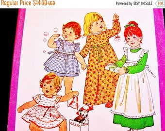 on SALE 25% Off Toddler Pinafore Dress Pattern size 3 Toddler Girls Short Sleeve Dress or Long Sleeve Dress with Pinafore Vintage 1970s Sewi