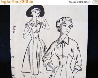 on SALE 25% Off 1950s Dress Pattern Misses size 10 Womens Princess Seam Full Skirt Dress Vintage Sewing Pattern