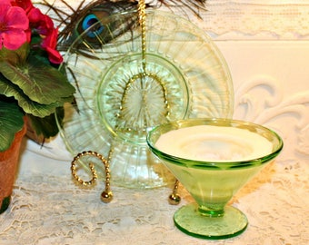 Soy Wax Vaseline Glass Tea Cup Candle,YOUR SCENT CHOICE,Homemade,Hand Poured,Gifts,Mated Set,Federal,Hocking,Uranium Glass,Optic Design