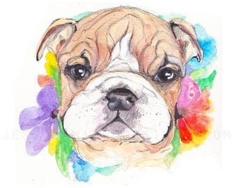 bulldog watercolor, watercolor bulldog, watercolor dog, bulldog puppy, puppy painting, dogs and flowers, dog lover