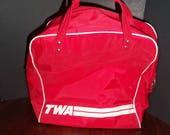Vintage TWA Vinyl Flight Bag Travel Bag Carry on Bag