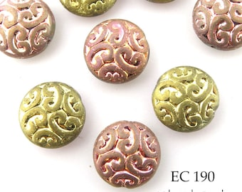 Brocade Coin Czech Glass Beads Old Rose, Two Tone (EC 190) blueecho 6 pcs
