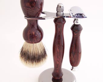 Camatillo Rosewood 22mm Super Silvertip Shaving Brush and Double Edge (DE) Safety Razor Gift Set (Handmade in USA) C1  Wood Shaving Set
